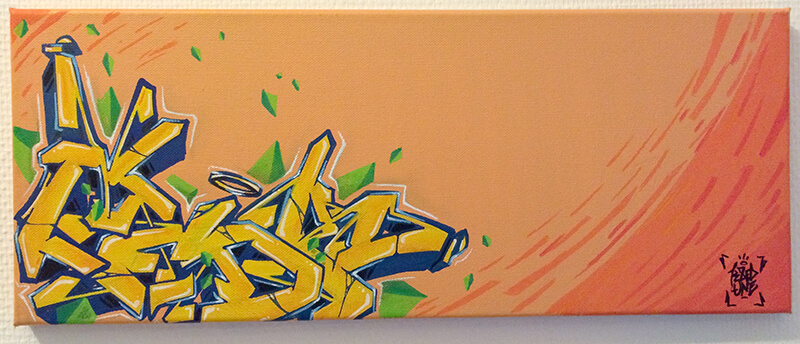 """toile de kzed """"orange and yellow"""" dans la serie """"triangle"""""""