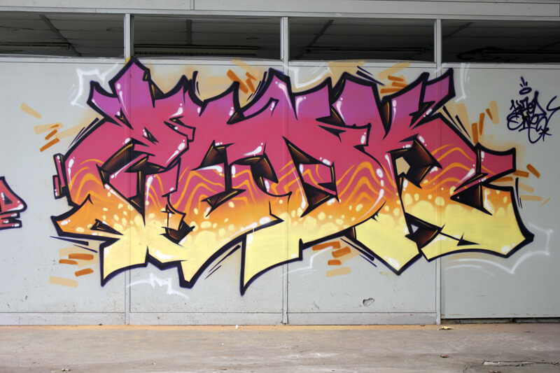 graffiti de Kzed Rose Orangée - Amiens - décoration