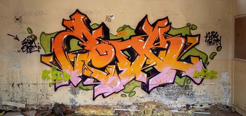 Graffiti réalisé par Kzed du crew AXDK a Amiens dans une usine abandonnée