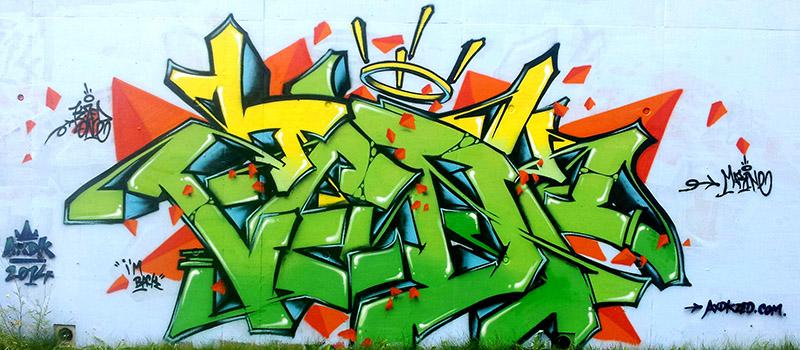 """graffiti réalisé par kzed du crew Axdk """"Maurice Green"""""""