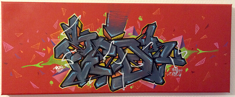 Canvas By Kzed axdk Red and Grey mixed midia 2014