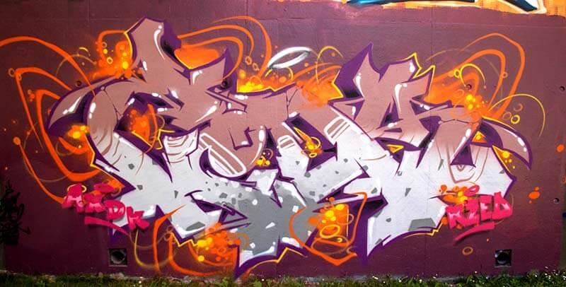 Graffiti réalisé par Kzed du crew AXDK a Amiens a la briquetterie